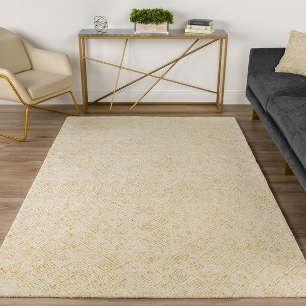 Gold, Ivory Contemporary / Modern Area-Rugs
