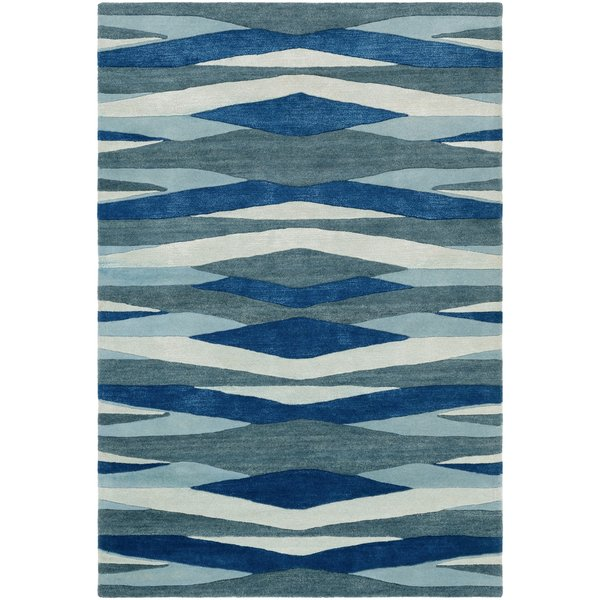 Bright Blue, Teal, Aqua, Sea Foam Contemporary / Modern Area Rug