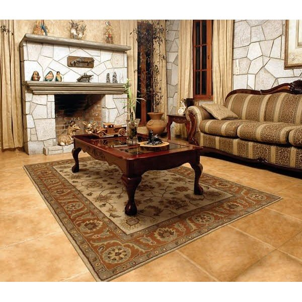 Golden Beige, Rust Traditional / Oriental Area-Rugs