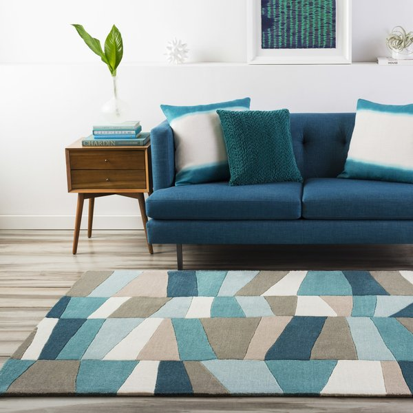 Turquoise, Mossy Stone Contemporary / Modern Area-Rugs