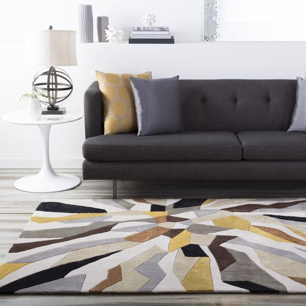 Lime, Ivory, Black Contemporary / Modern Area Rug