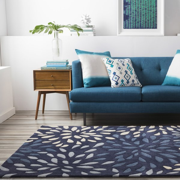 Navy, Dark Blue, Khaki Contemporary / Modern Area Rug