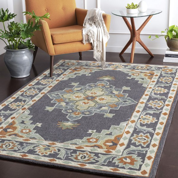 Charcoal, Sage, Camel Traditional / Oriental Area Rug