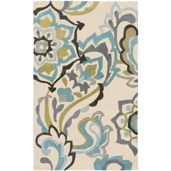 Teal, Beige, Olive Traditional / Oriental Area Rug