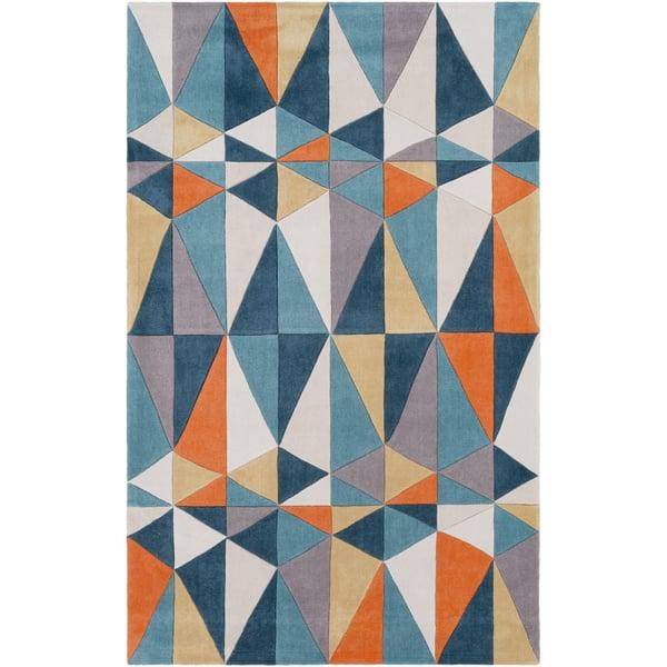 Teal, Taupe, Cream, Khaki Contemporary / Modern Area Rug