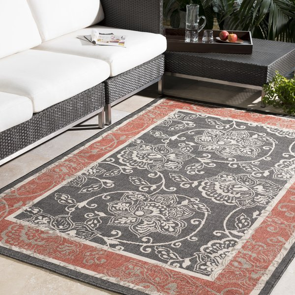 Black, Rust, Cream, Camel Traditional / Oriental Area Rug