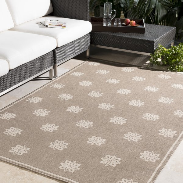 Camel, Cream Contemporary / Modern Area Rug
