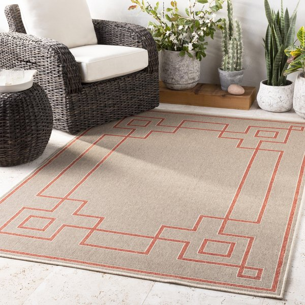 Rust, Camel, Cream Contemporary / Modern Area Rug