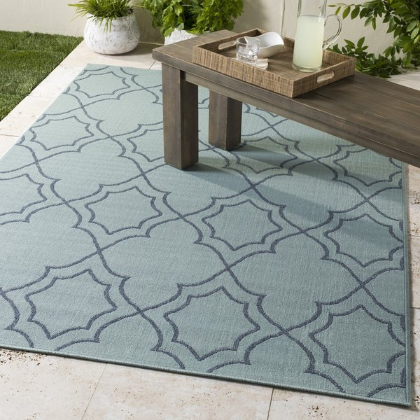 Aqua, Charcoal Contemporary / Modern Area Rug