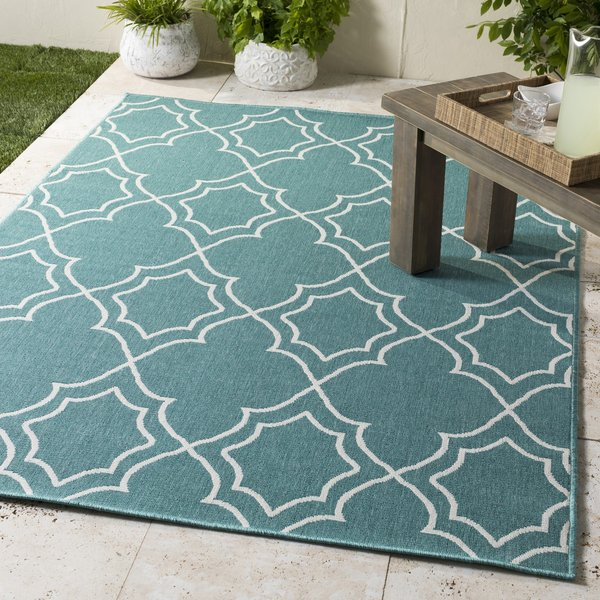 Teal, White Contemporary / Modern Area Rug