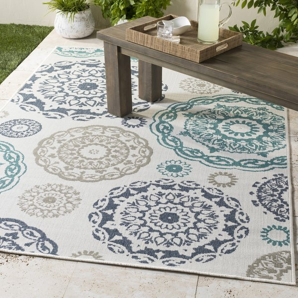Teal, Charcoal, White, Taupe Contemporary / Modern Area-Rugs