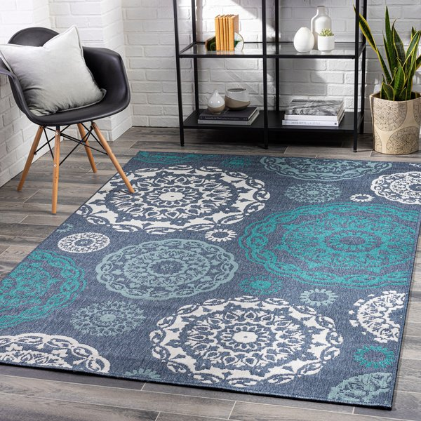 Charcoal, Aqua, Teal, White Contemporary / Modern Area-Rugs