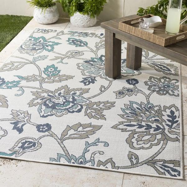 Aqua, Taupe, White, Charcoal Floral / Botanical Area Rug