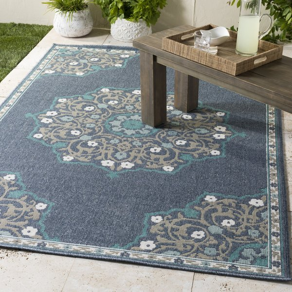 Charcoal, Taupe, Teal, White Contemporary / Modern Area Rug