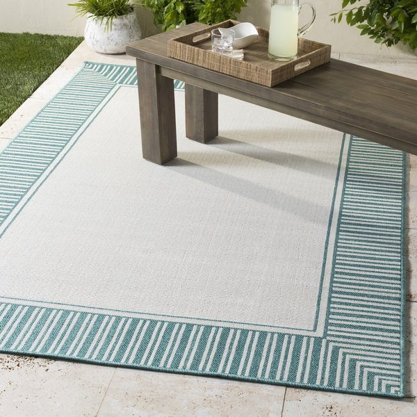 Teal, White Contemporary / Modern Area-Rugs