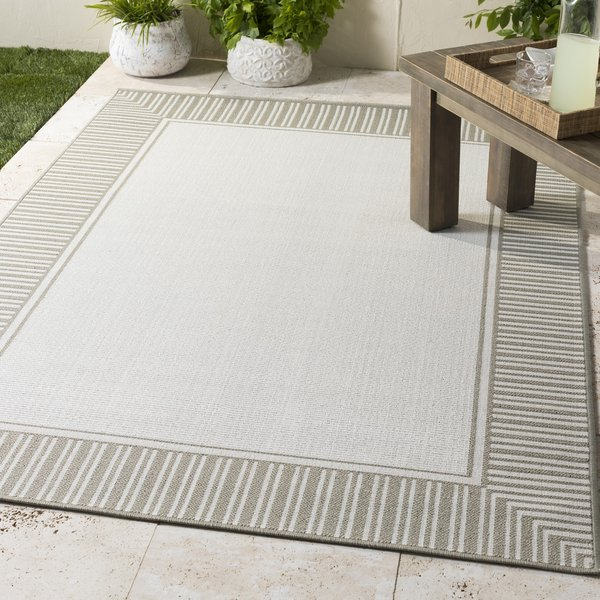Taupe, White Contemporary / Modern Area Rug