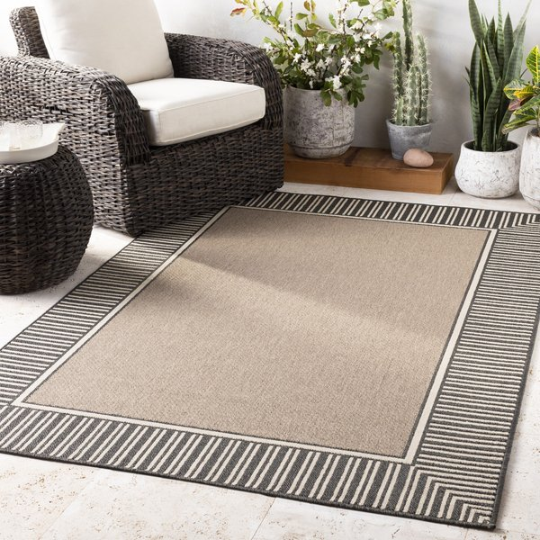 Camel, Black Contemporary / Modern Area Rug