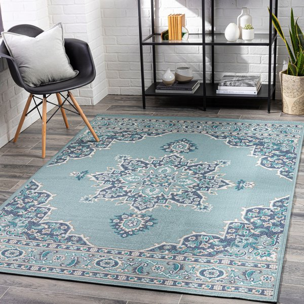 Charcoal, Teal Contemporary / Modern Area Rug