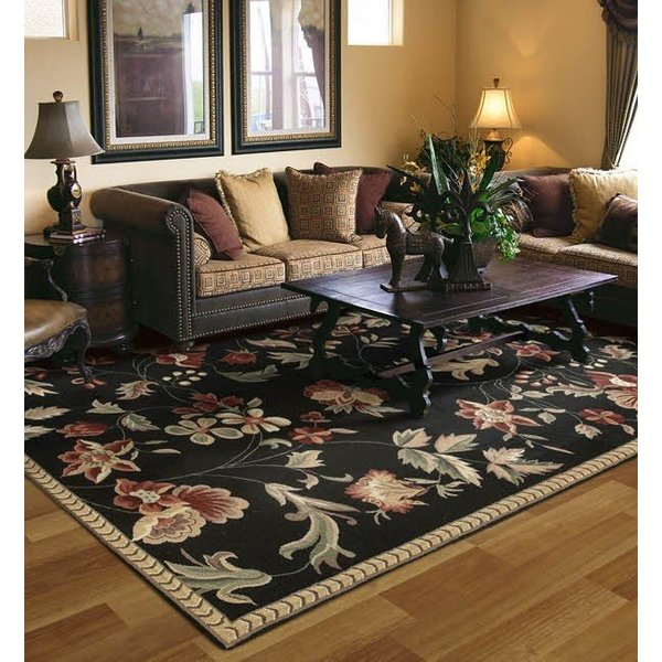 Black, Rust, Camel, Burgundy, Tan Floral / Botanical Area Rug