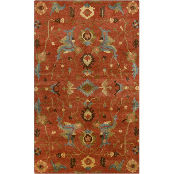 Burnt Sienna, Cameo Blue, Spinach Green Bohemian Area Rug