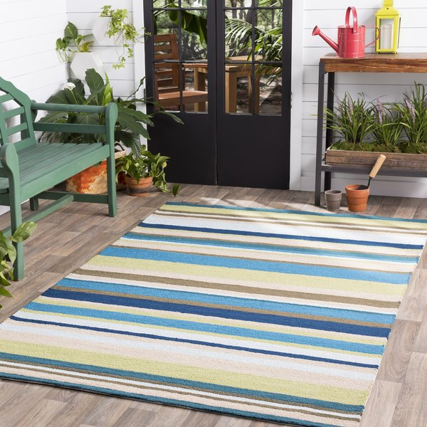 Lime, Teal, Taupe, Olive Striped Area Rug