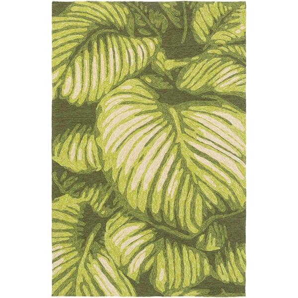 Lime, Dark Brown, Cream, White, Camel Floral / Botanical Area Rug