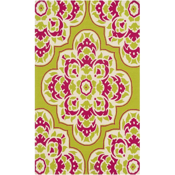 Lime, Bright Pink, Cream Contemporary / Modern Area Rug
