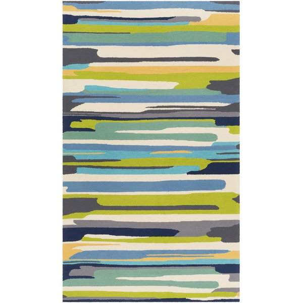 Emerald, Lime, Bright Yellow Abstract Area Rug