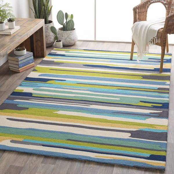 Emerald, Lime, Bright Yellow Abstract Area-Rugs
