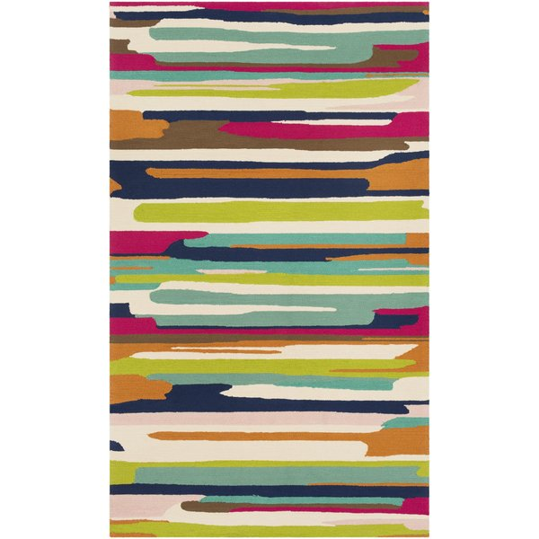 Camel, Navy, Bright Pink Abstract Area Rug