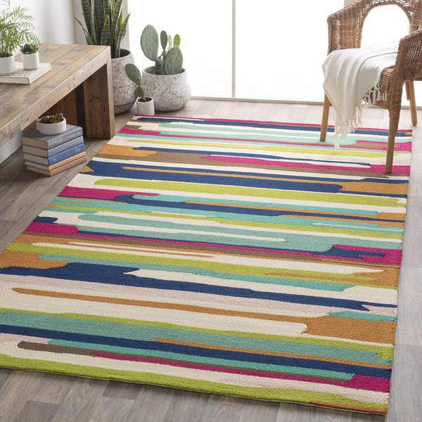 Camel, Navy, Bright Pink Abstract Area-Rugs