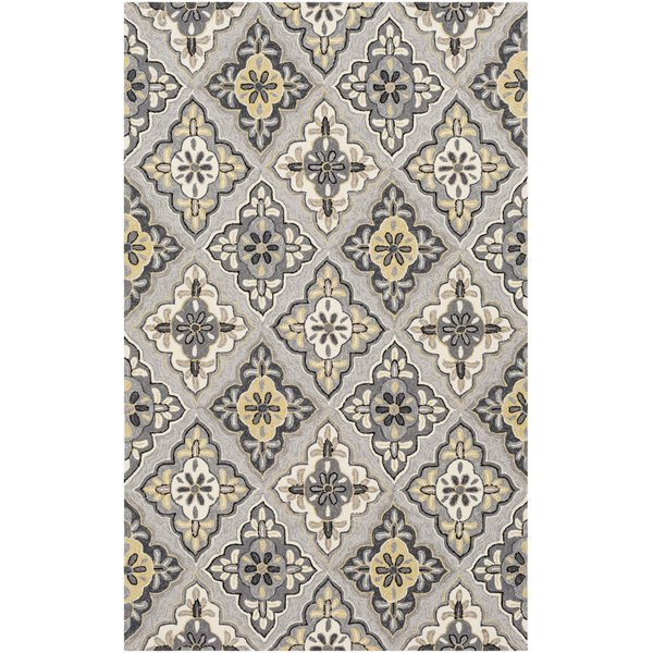 Charcoal, Grey, Mustard Contemporary / Modern Area Rug