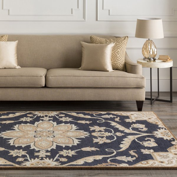 Navy, Taupe, Tan, Dark Brown, Sage Traditional / Oriental Area Rug