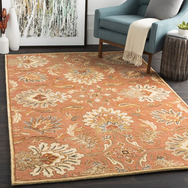 Burnt Orange, Sage, Camel, Dark Brown Traditional / Oriental Area Rug