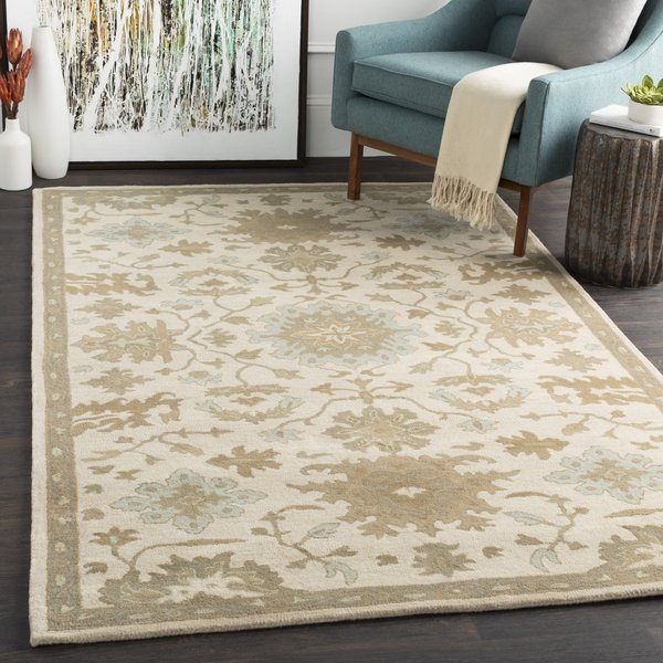 Beige, Light Gray, Dark Green, Olive Traditional / Oriental Area Rug
