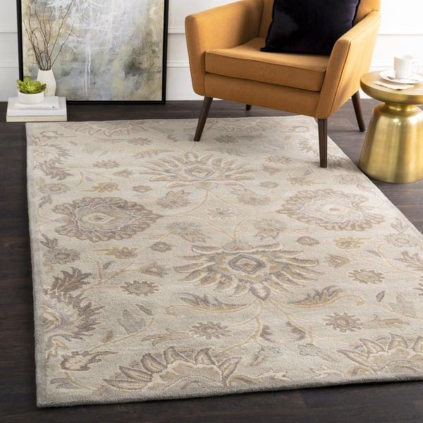 Light Gray, Khaki, Camel, Medium Gray, Cream Traditional / Oriental Area Rug