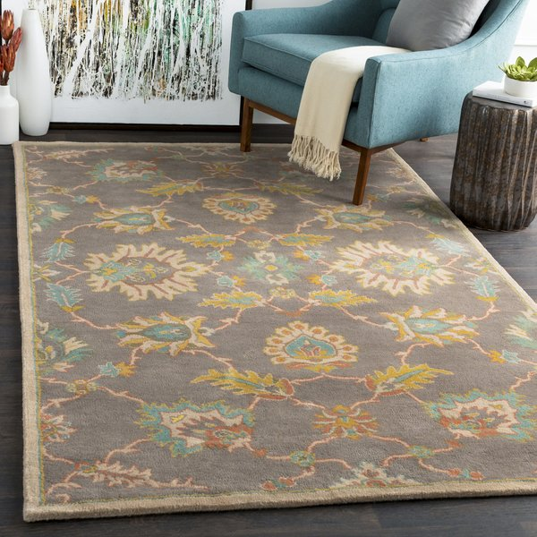 Taupe, Mustard, Teal Traditional / Oriental Area Rug