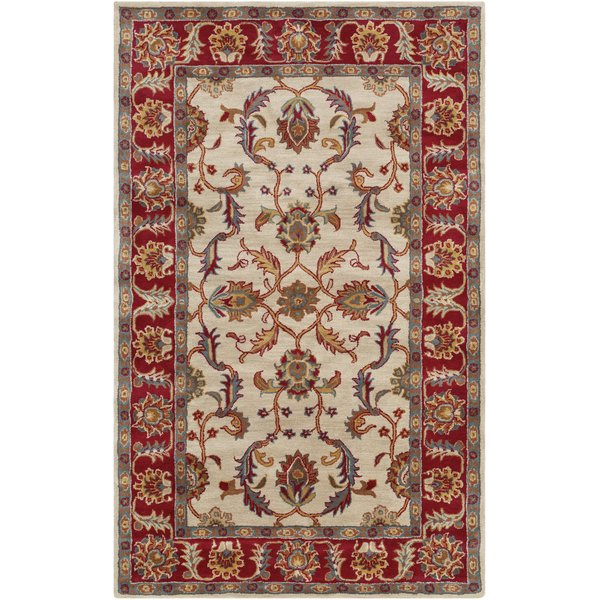 Dark Red, Teal, Khaki (CAE-1208) Traditional / Oriental Area Rug