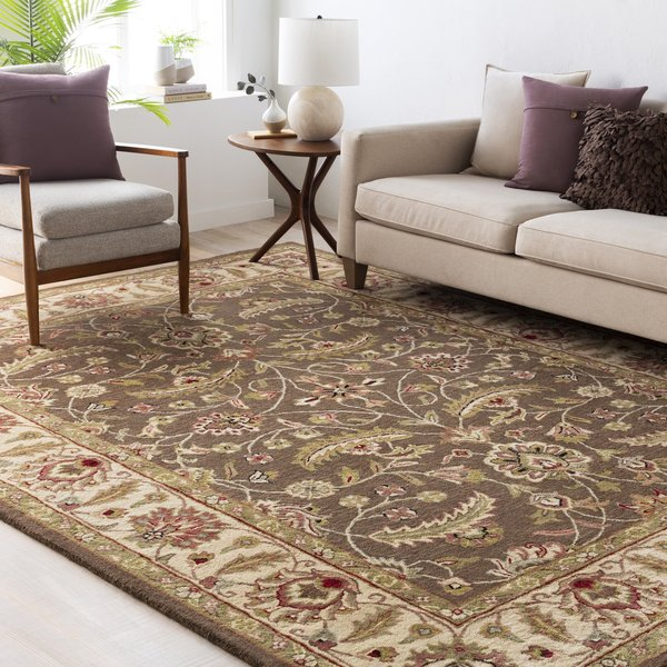 Dark Brown, Sage, Red Traditional / Oriental Area-Rugs