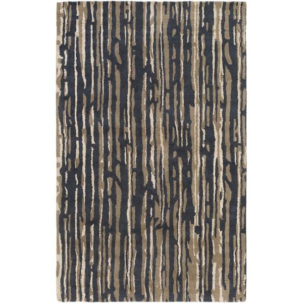 Black, Cream, Tan, Camel Contemporary / Modern Area Rug