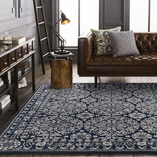 Dark Blue, Light Grey Contemporary / Modern Area-Rugs