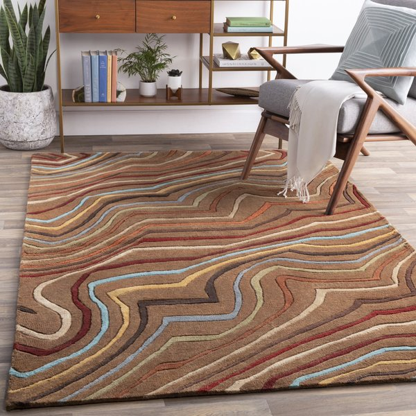 Coffee Bean, Golden Brown, Russet Contemporary / Modern Area Rug