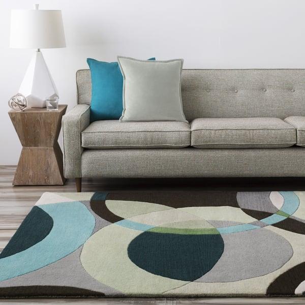 Green, Ivory, Black Contemporary / Modern Area Rug