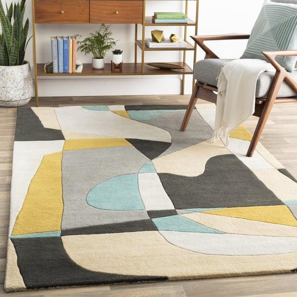 Olive, Medium Gray, Black, Teal, Khaki Contemporary / Modern Area Rug