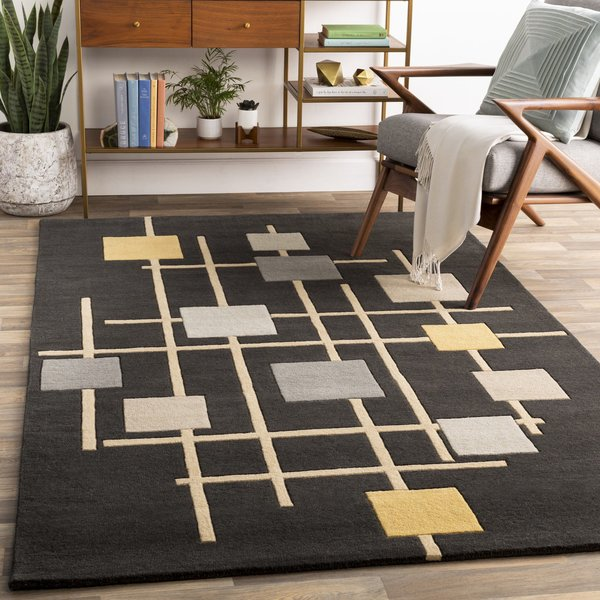 Ivory, Black, Olive, Navy, Burnt Orange, Charcoal Contemporary / Modern Area Rug