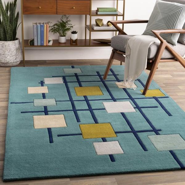 Teal,Dark Blue, Sage, Olive, Beige, Light Grey Contemporary / Modern Area Rug