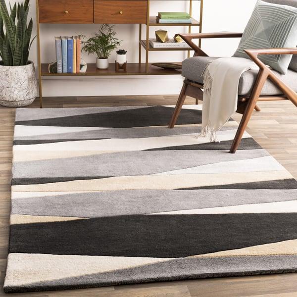 Black, Cream, Taupe, Medium Gray Contemporary / Modern Area Rug