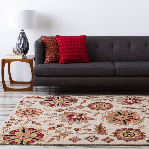 Tan, Dark Red, Olive, Light Gray, Dark Brown Floral / Botanical Area Rug