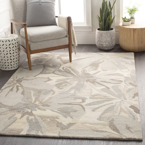 Taupe, Charcoal, Dark Brown Floral / Botanical Area Rug