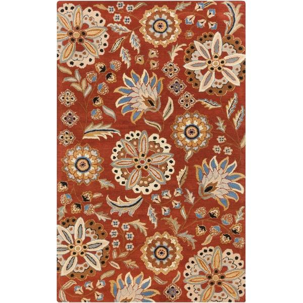 Burnt Orange, Dark Blue, Black, Khaki, Medium Gray Traditional / Oriental Area Rug